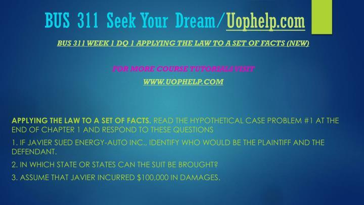 Bus 311 seek your dream uophelp com2