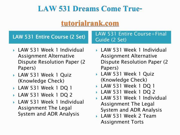 Law 531 dreams come true tutorialrank com1