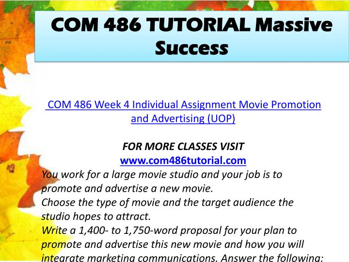 COM 486 TUTORIAL Massive