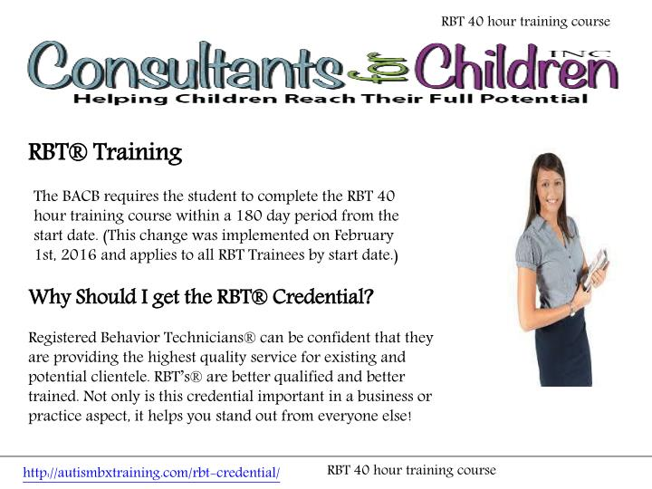 RBT 40 hour training course