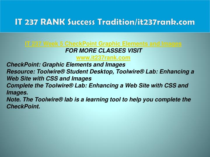 IT 237 RANK Success Tradition/it237rank.com