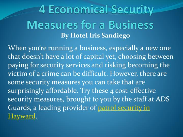 4 economical security measures for a business
