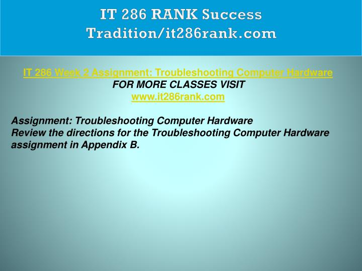 IT 286 RANK Success Tradition/it286rank.com
