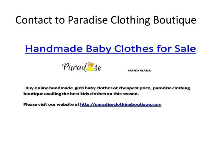 Contact to Paradise Clothing Boutique