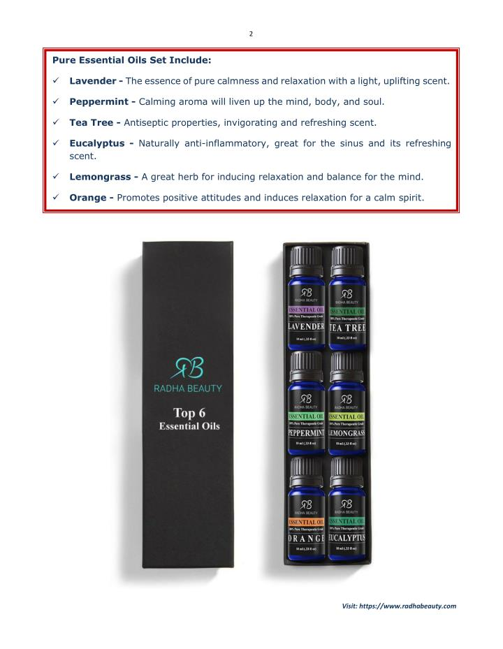 Radha beauty aromatherapy top 6 essential oil set