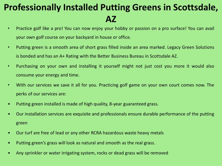 Professionally installed putting greens in scottsdale az