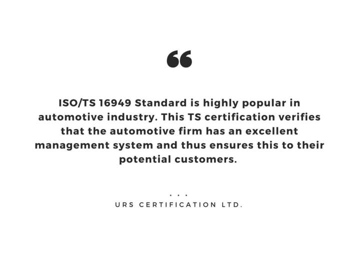 Iso ts 16949 certification qms for automotive