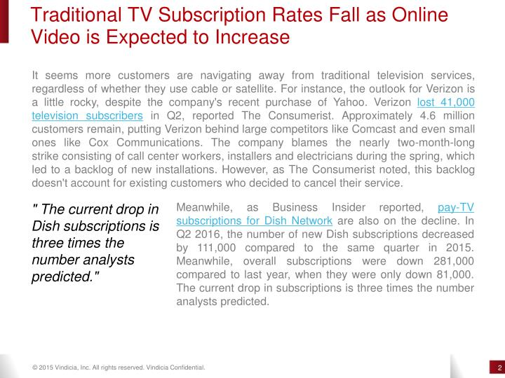 Traditional TV Subscription Rates Fall as Online