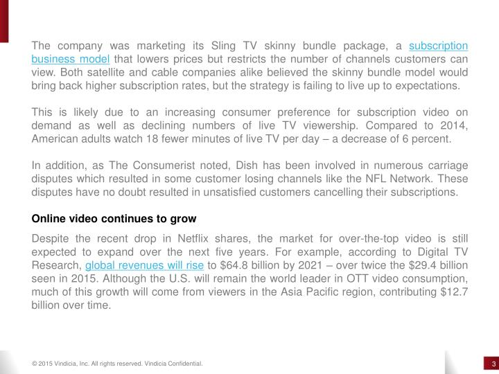 The company was marketing its Sling TV skinny bundle package, a subscription