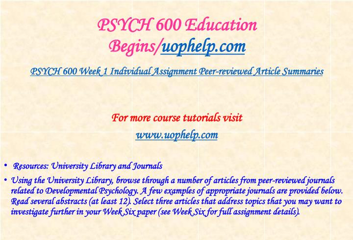 Psych 600 education begins uophelp com2