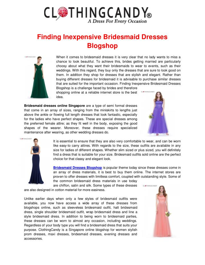 Finding Inexpensive Bridesmaid Dresses