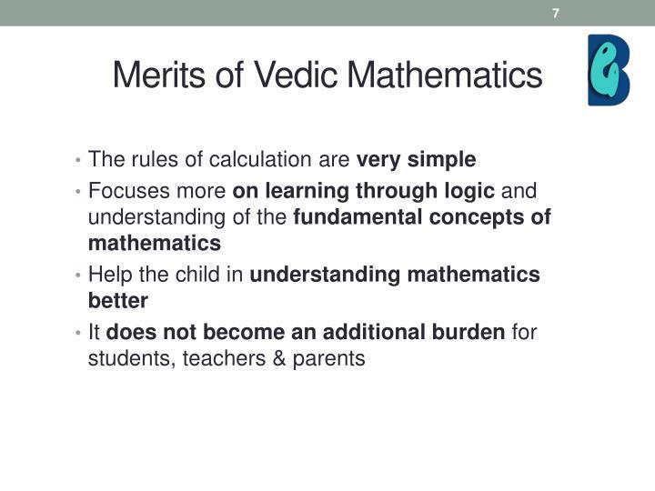 Merits of Vedic Mathematics