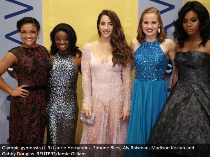Olympic gymnasts (L-R) Laurie Hernandez, Simone Biles, Aly Raisman, Madison Kocian and Gabby Douglas...