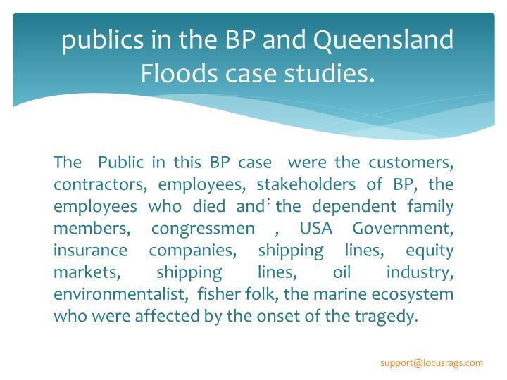 Publics in the bp and queensland floods case studies
