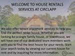 welcome to house rentals services at circlapp