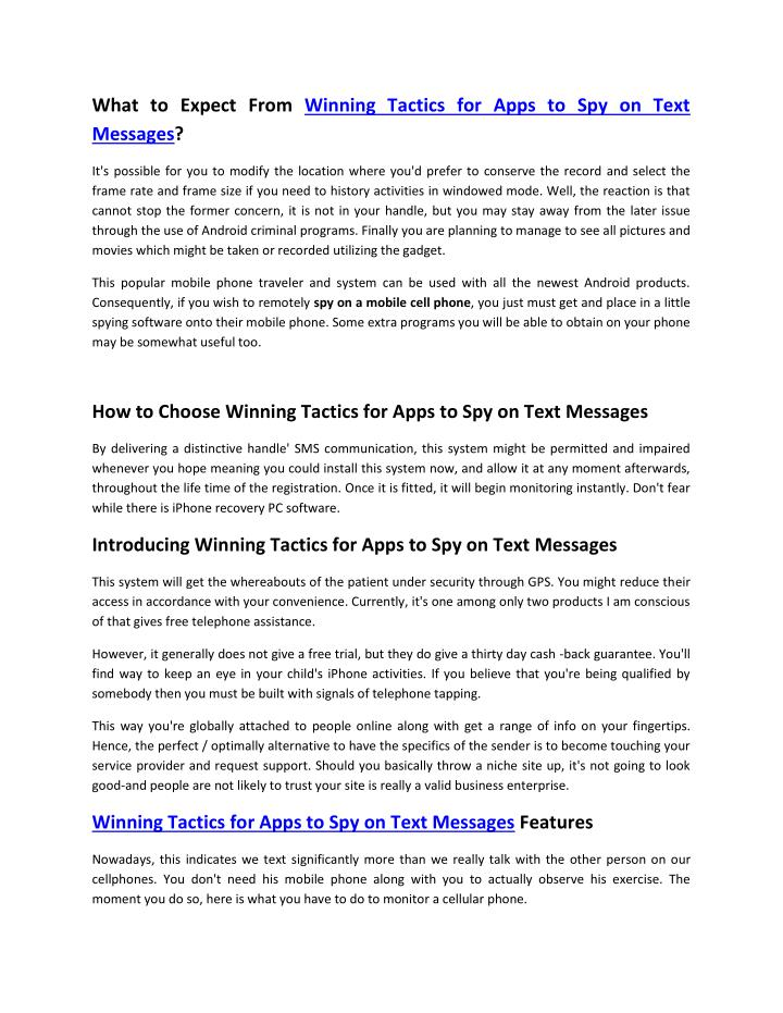 What to Expect From Winning Tactics for Apps to Spy on Text