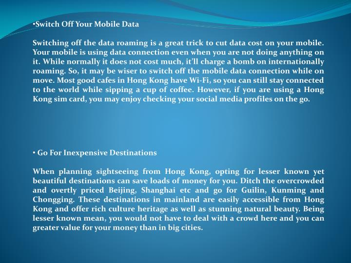 Switch Off Your Mobile Data