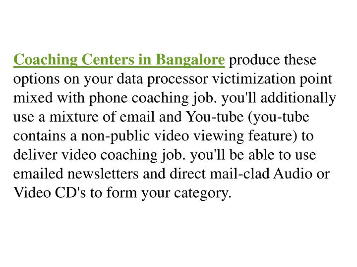 Coaching Centers in Bangalore