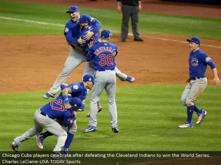 Chicago Cubs players celebrate in the wake of crushing the Cleveland Indians to win the World Series. Charles LeClaire-USA TODAY Sports
