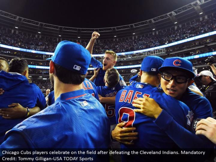 Chicago Cubs players celebrate on the field subsequent to vanquishing the Cleveland Indians. Obligatory Credit: Tommy Gilligan-USA TODAY Sports