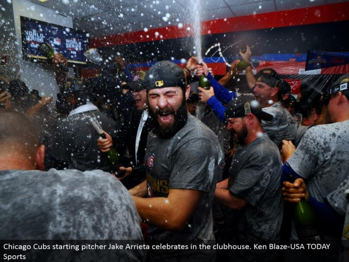 Chicago Cubs beginning pitcher Jake Arrieta celebrates in the clubhouse. Ken Blaze-USA TODAY Sports