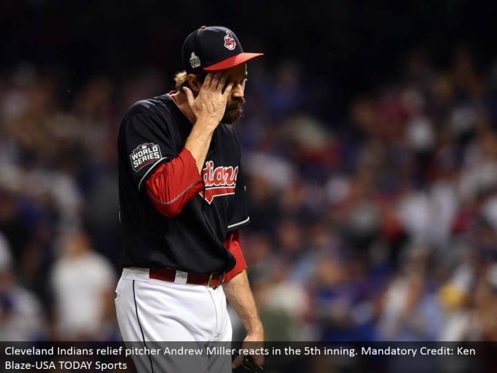 Cleveland Indians alleviation pitcher Andrew Miller responds in the fifth inning. Obligatory Credit: Ken Blaze-USA TODAY Sports