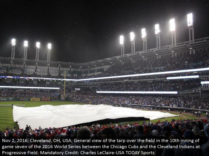 Nov 2, 2016; Cleveland, OH, USA; General perspective of the covering over the field in the tenth inning of diversion seven of the 2016 World Series between the Chicago Cubs and the Cleveland Indians at Progressive Field. Required Credit: Charles LeClaire-USA TODAY Sports