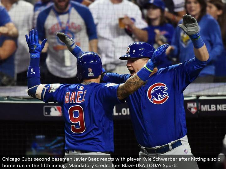 Chicago Cubs second baseman Javier Baez responds with player Kyle Schwarber in the wake of hitting a performance grand slam in the fifth inning. Obligatory Credit: Ken Blaze-USA TODAY Sports