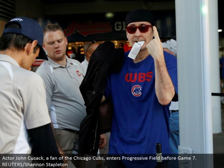Actor John Cusack, a fanatic of the Chicago Cubs, enters Progressive Field before Game 7. REUTERS/Shannon Stapleton
