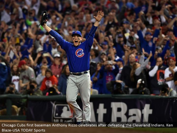 Chicago Cubs first baseman Anthony Rizzo celebrates in the wake of crushing the Cleveland Indians. Ken Blaze-USA TODAY Sports