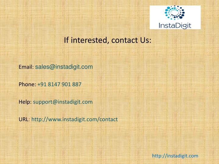If interested, contact