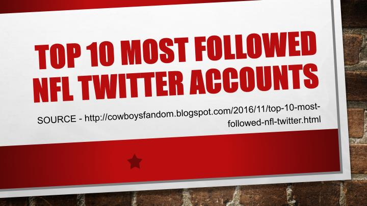 Top 10 most followed nfl twitter accounts