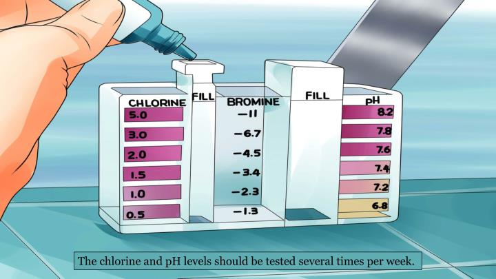 The chlorine and pH levels should be tested several times per week