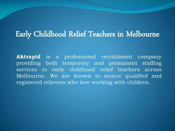 Early Childhood Relief Teachers in Melbourne