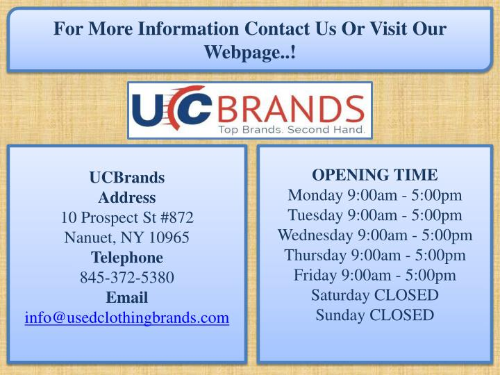 For More Information Contact Us Or Visit Our Webpage..!