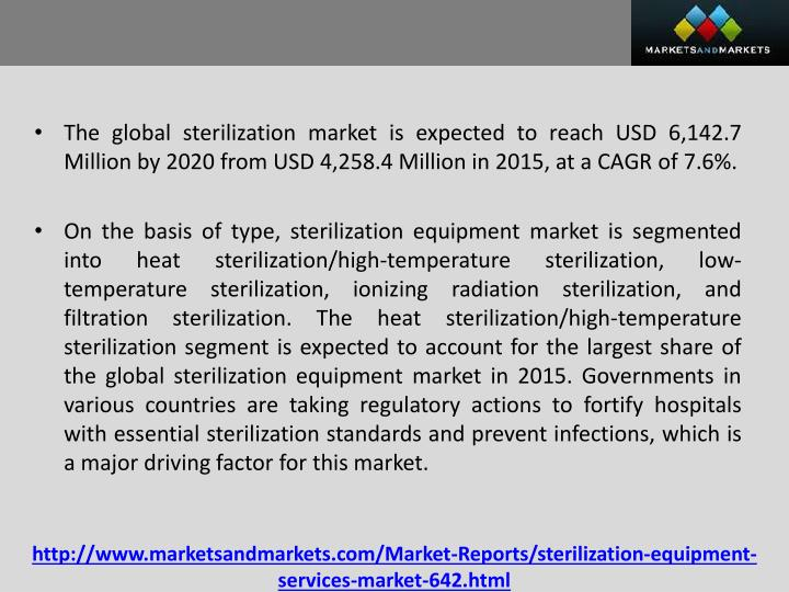 The global sterilization market is expected to reach USD 6,142.7 Million by 2020 from USD 4,258.4 Million in 2015, at a CAGR of 7.6%.