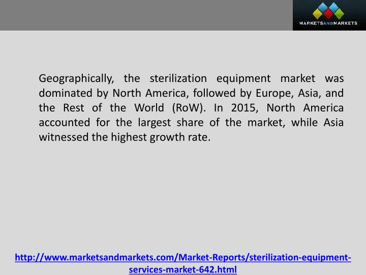 Geographically, the sterilization equipment market was dominated by North America, followed by Europe, Asia, and the Rest of the World (
