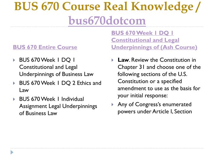 Bus 670 course real knowledge bus670dotcom1