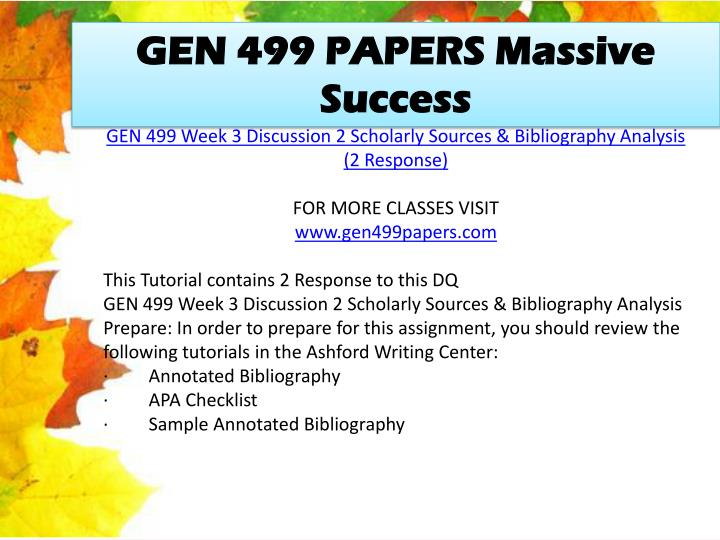 GEN 499 PAPERS Massive Success