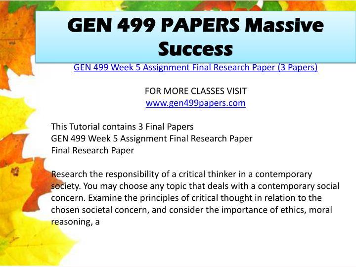 GEN 499 PAPERS Massive Success