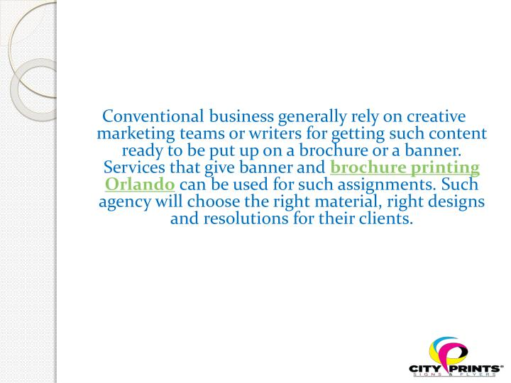 Conventional business generally rely on creative marketing teams or writers for getting such content ready to be put up on a brochure or a banner. Services that give banner and
