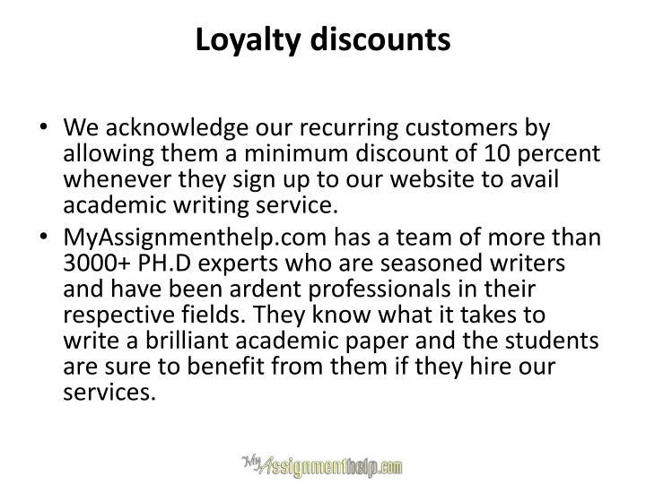 Loyalty discounts