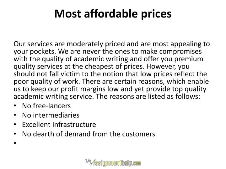 Most affordable prices