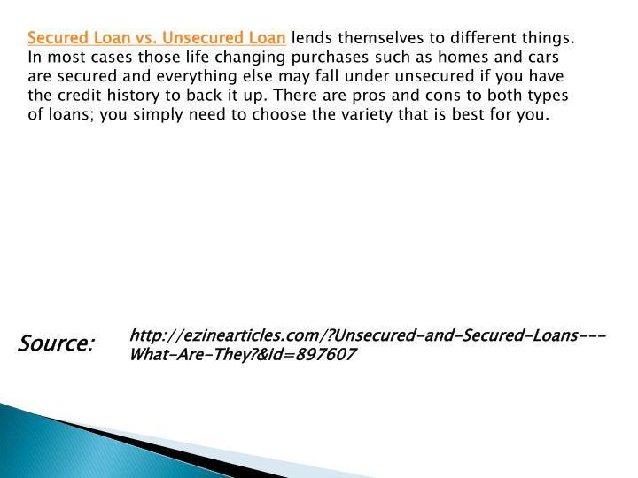 Secured Loan vs. Unsecured Loan