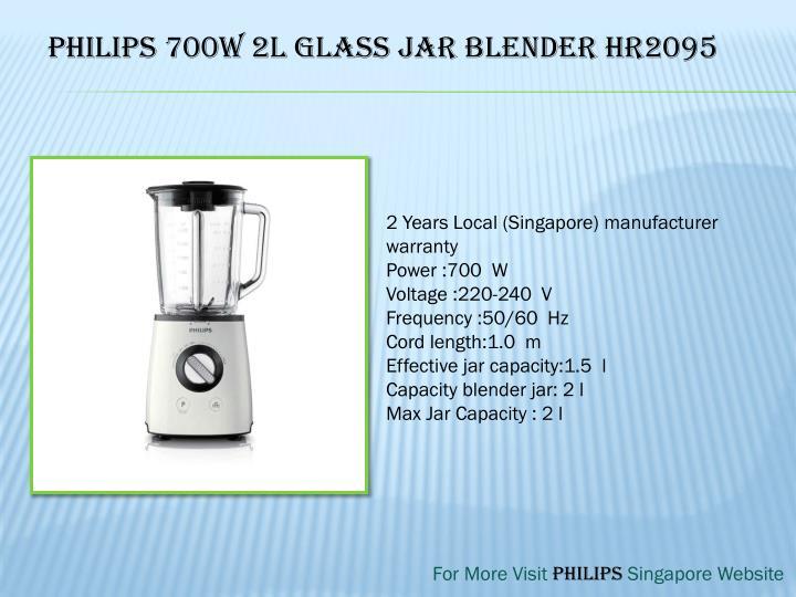 Philips 700W 2L Glass Jar Blender HR2095