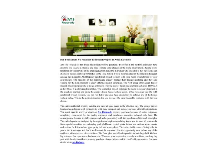 Buy your dream ats rhapsody residential projects in noida extension