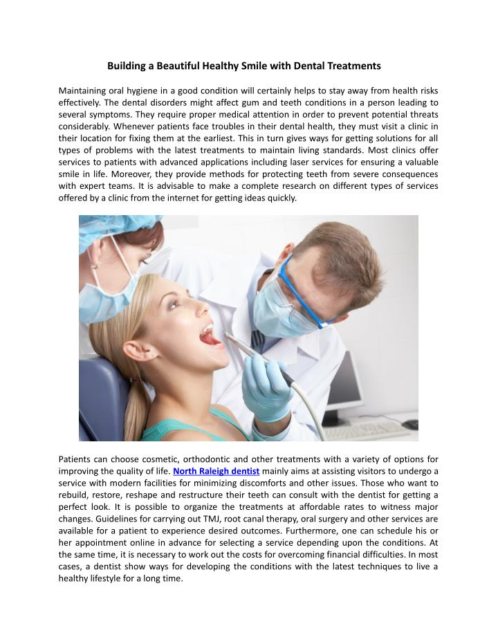 Building a Beautiful Healthy Smile with Dental Treatments
