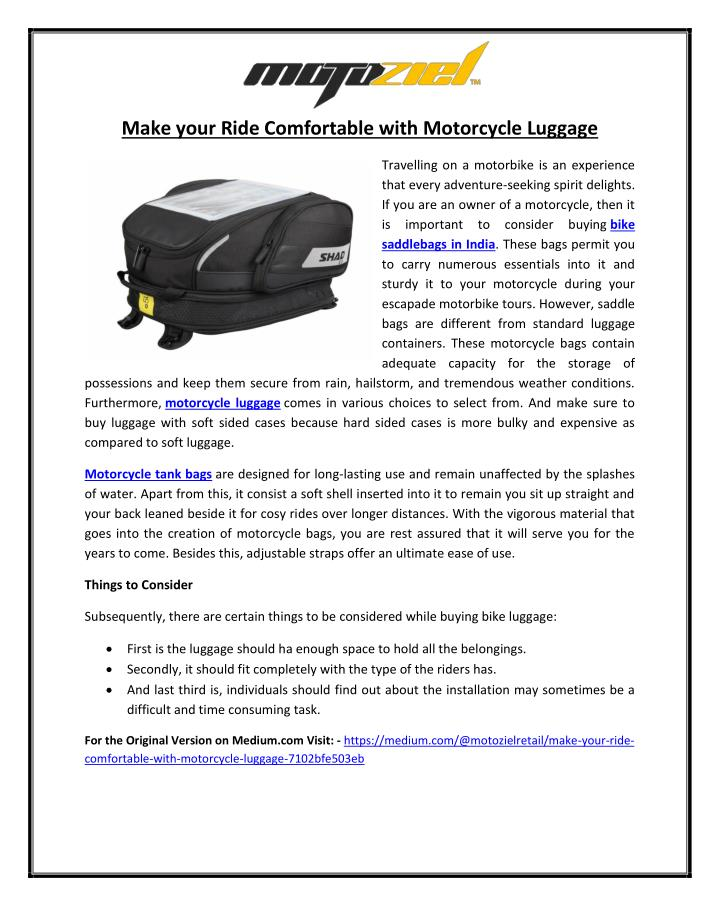 Make your Ride Comfortable with Motorcycle Luggage