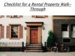 checklist for a rental property walk through