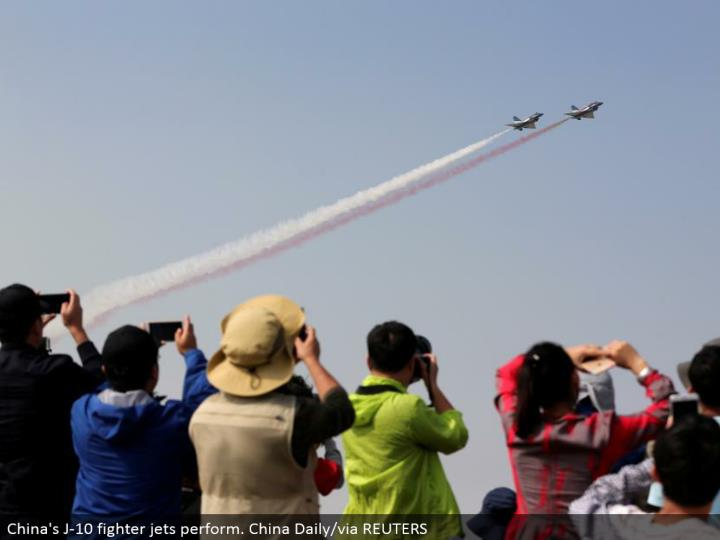 China's J-10 contender planes perform. China Daily/by means of REUTERS